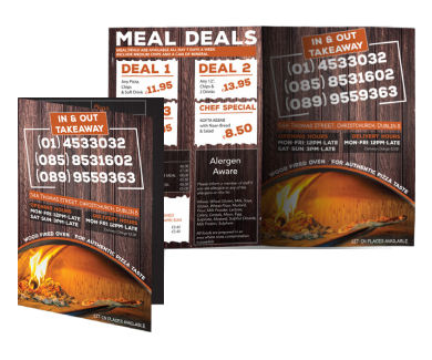 a4 menu leaflets